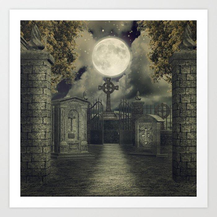 Graveyard #4 * cemetary thombstone creepy scary Art Print