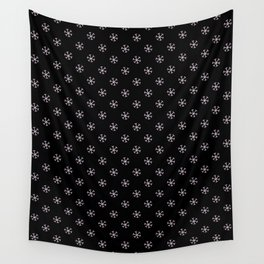 Pink Lace Pink on Black Snowflakes Wall Tapestry