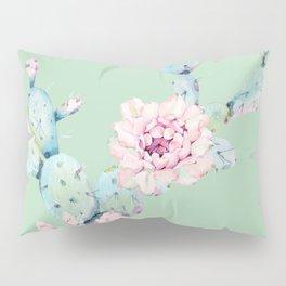 Rose Desert Cactus Mint Green + Pink Pillow Sham