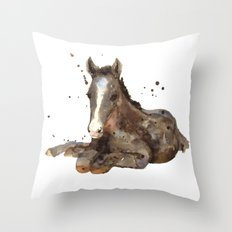 Horse painting, watercolor horse, horses Throw Pillow