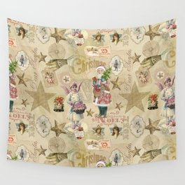 Vintage Christmas Collage Pattern Wall Tapestry