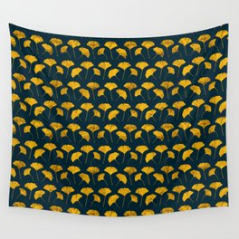 Yellow ginkgo leaves pattern Wall Tapestry