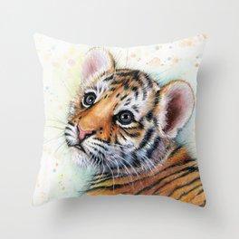 Tiger Cub Watercolor Throw Pillow