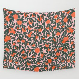Oranges and Leaves Pattern - Pink Wall Tapestry
