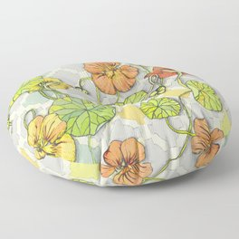 Climbing Nasturtiums in Lemon, Lime and Tangerine Floor Pillow