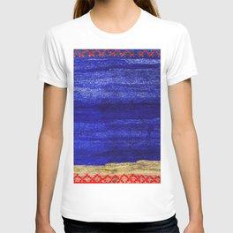 V24 New Blue Calm Traditional Moroccan Carpet Texture. T-shirt