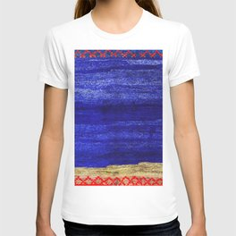 V24 New Blue Calm Traditional Moroccan Carpet Texture. T-shirt
