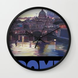 Rome Italy Retro Travel Poster Wall Clock