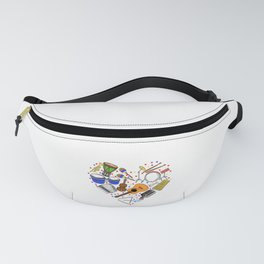 """When """"No Music No Life"""" Tee """" With Illustration Of Musical Instruments T-shirt Design White Musician Fanny Pack"""