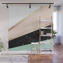 Mint, Blush, White, Black Marble and Gold Stripes Glam #1 #minimal #decor #art #society6 Wall Mural