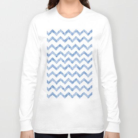 Chevron Light Blue And White Long Sleeve T-shirt