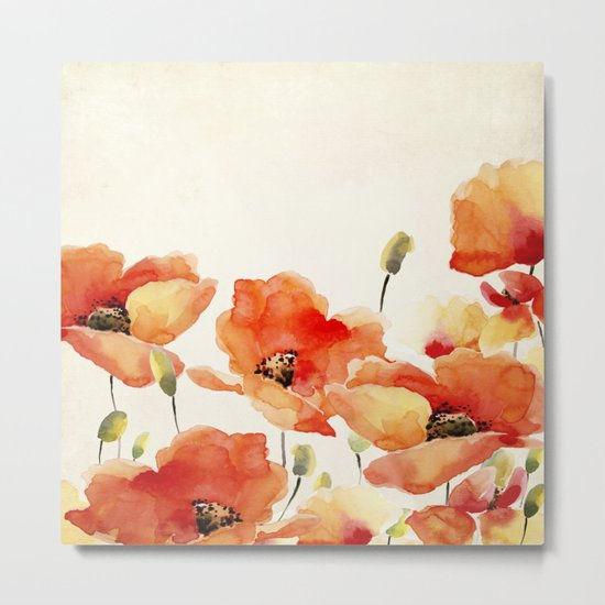 Poppy Flower Meadow- Floral Summer lllustration Metal Print