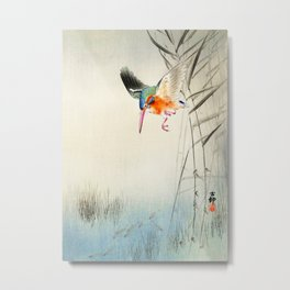 Kingfisher diving for fish - Vintage Japanese Woodblock Print  Metal Print
