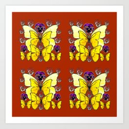 RUST COLORED YELLOW  BUTTERFLY & PANSY FLORAL Art Print