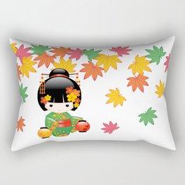 Japanese Fall Kokeshi Doll Rectangular Pillow