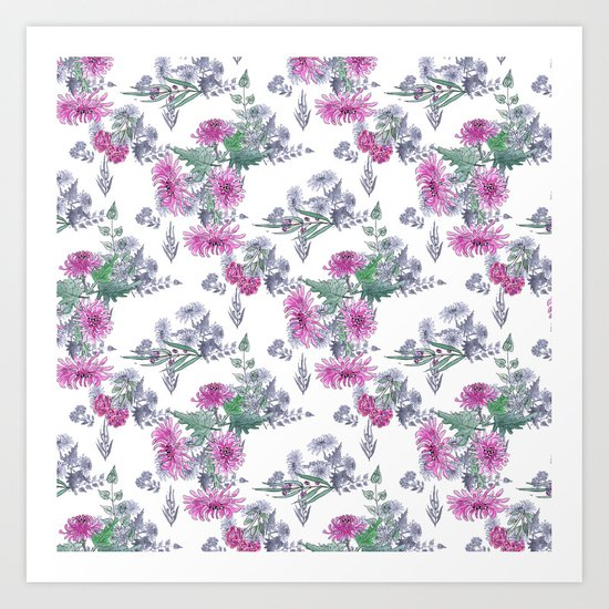 Watercolor floral pattern . 11 Art Print