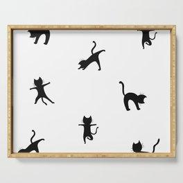Yoga cats - black cats doing yoga Serving Tray