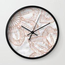 Mandala whimsy - rose gold & marble Wall Clock