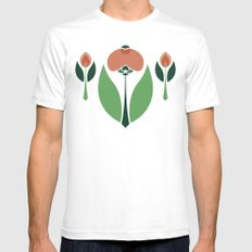 Nouveau Chrysanth Rose Mens Fitted Tee SMALL White