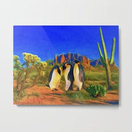 Mojave Penguins Metal Print