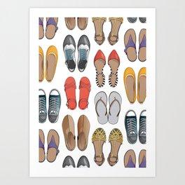 Hard choice // shoes on white background Art Print
