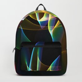 Northern Lights, Abstract Fractal Rainbow Aurora Backpack