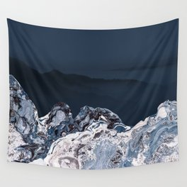 BLUE MARBLED MOUNTAINS Wall Tapestry