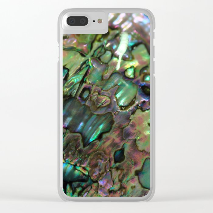 Oil Slick Abalone Mother Of Pearl Clear iPhone Case