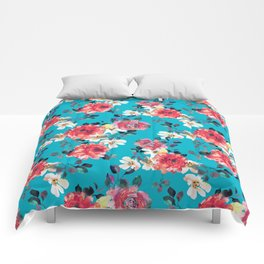 LARGE ROSES ON A BLUE Comforters