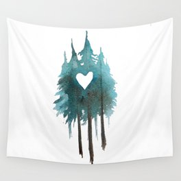 Forest Love - heart cutout watercolor artwork Wall Tapestry