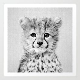 Baby Cheetah - Black & White Art Print