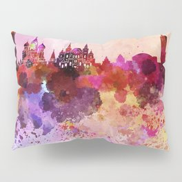 Moscow skyline in watercolor background Pillow Sham