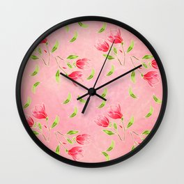 magnolia flowers on pink background Wall Clock