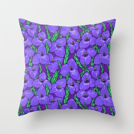 Puya Flowers Botanical Tropical Floral Pattern Purple Green Throw Pillow
