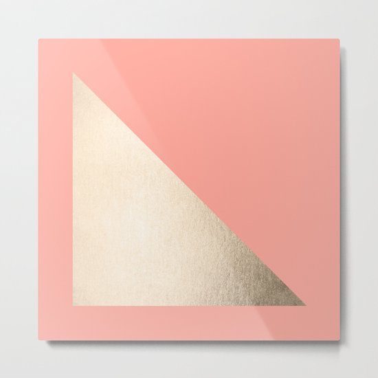 Simply Shadow in White Gold Sands on Salmon Pink Metal Print