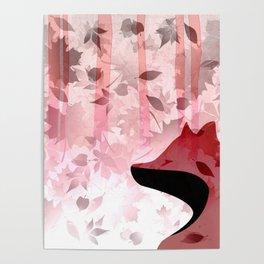 Fox In Falling Leaves Unique Design Poster