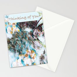 Thinking of You Watercolor Flowers Stationery Cards