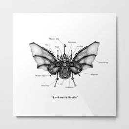 "Mechanical Mistake series "" Locksmith Beetle"" Metal Print"