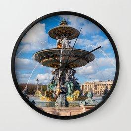 The Maritime Fountain at place de la Concorde - Paris, France Wall Clock