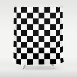 Black & White Checker Checkerboard Checkers Shower Curtain