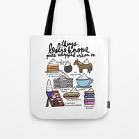 snl Tote Bags featuring Things Leslie Knope puts Whipped Cream on by Liana Spiro