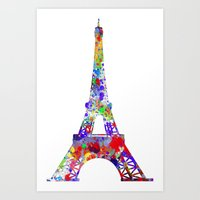 eiffel tower Art Prints featuring Eiffel Tower  by ron ashkenazi
