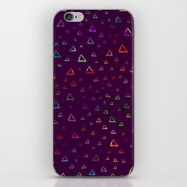 Watercolor rainbow colorful triangles on violet iPhone Skin