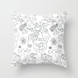 Halloween pattern in black and white Throw Pillow