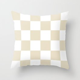 Large Checkered - White and Pearl Brown Throw Pillow
