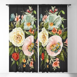 Wildflower and Butterflies Bouquet on Charcoal Black Blackout Curtain