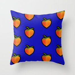 Georgia Peach (Blue) Throw Pillow