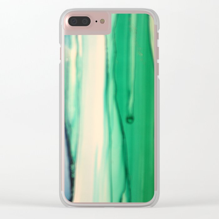 Green and White Clear iPhone Case
