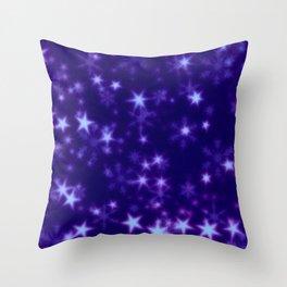 Blurry Stars blue Throw Pillow