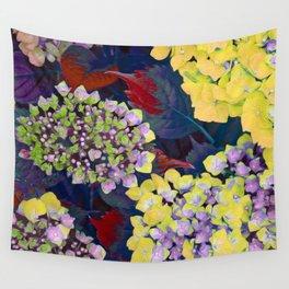 Hydrangea Yellow Wall Tapestry